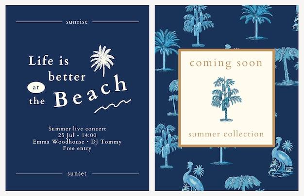 Modèle de flyer d'été bleu psd fond tropical