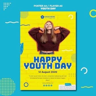 Modèle de flyer d'événement de la journée de la jeunesse
