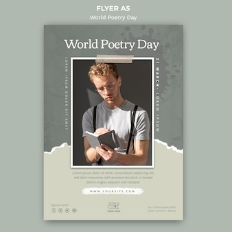 Modèle de flyer d'événement de la journée mondiale de la poésie avec photo