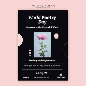 Modèle de flyer d'événement de la journée mondiale de la poésie