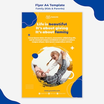 Modèle de flyer familial avec photo