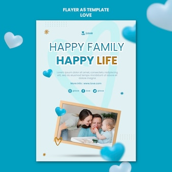 Modèle de flyer de famille heureuse