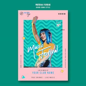 Modèle de flyer de festival de musique de style anime-bande dessinée