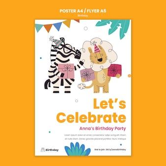 Modèle de flyer de fête d'anniversaire