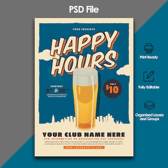 Modèle de flyer de fête de la bière rétro happy hour