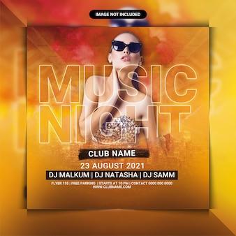 Modèle de flyer de fête de boîte de nuit de musique