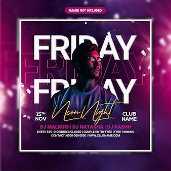 Modèle de flyer de fête du club néon du vendredi