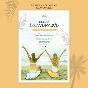 Modèle de flyer de fête de plage d'été