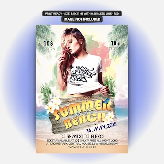 Modèle de flyer de fête sur la plage d'été