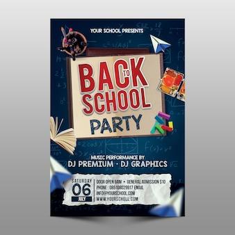 Modèle de flyer de fête de retour à l'école