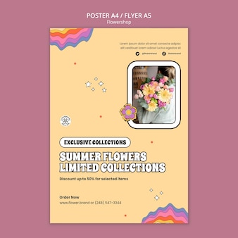 Modèle de flyer de fleurs d'été