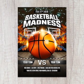 Modèle de flyer de folie de basket-ball