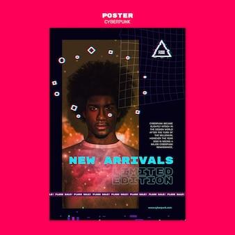 Modèle de flyer futuriste cyberpunk