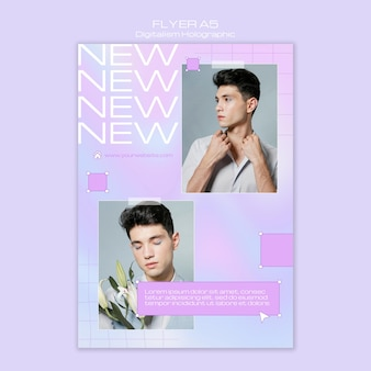 Modèle de flyer holographique de modèle masculin de digitalisme