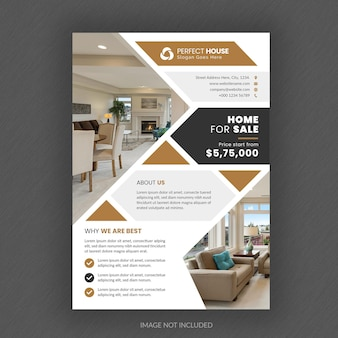 Modèle de flyer immobilier abstrait avec photo