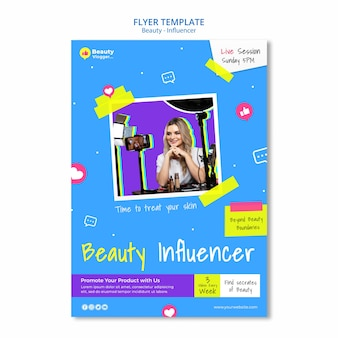 Modèle de flyer d'influenceur de beauté