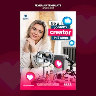 Modèle de flyer d'influenceur avec photo