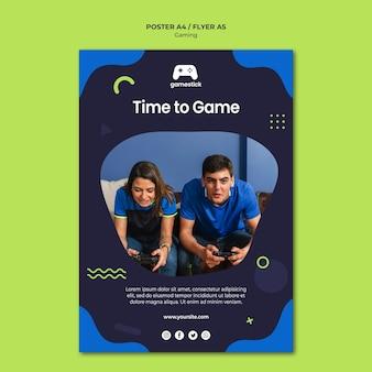 Modèle de flyer de jeu vidéo avec photo