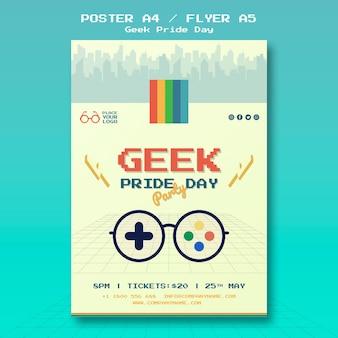 Modèle de flyer de jour de fierté geek