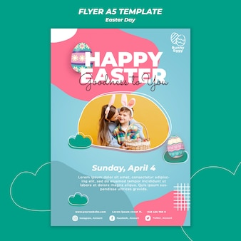 Modèle de flyer de jour de pâques