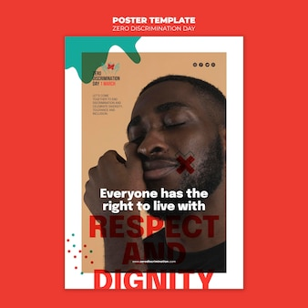 Modèle de flyer de jour zéro discrimination avec photo