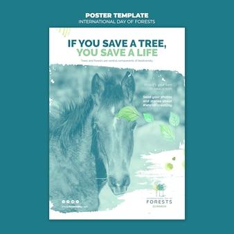 Modèle de flyer de la journée des forêts créatives avec photo