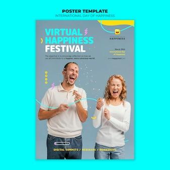Modèle de flyer de la journée internationale du bonheur avec photo