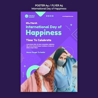 Modèle de flyer de la journée internationale du bonheur