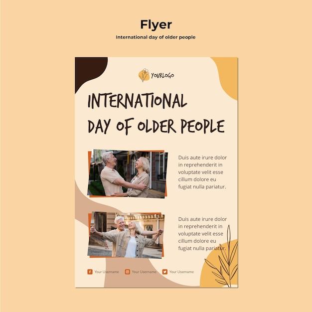 Modèle de flyer de la journée internationale des personnes âgées