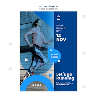 Modèle de flyer de la journée mondiale du diabète