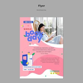 Modèle de flyer de la journée mondiale du livre