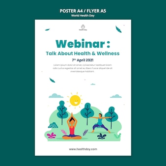 Modèle de flyer de la journée mondiale de la santé illustré