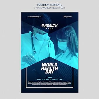 Modèle de flyer de la journée mondiale de la santé avec photo
