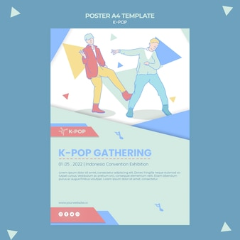 Modèle de flyer k-pop illustré