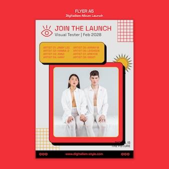Modèle de flyer de lancement d'album de digitalisme avec photo