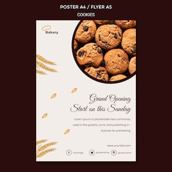 Modèle de flyer de magasin de cookies