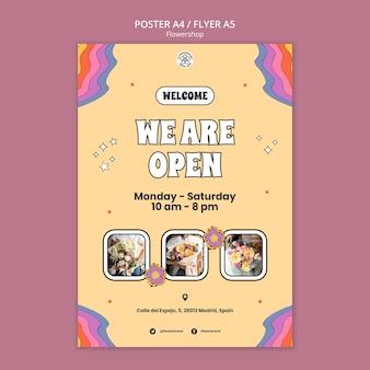 Modèle de flyer de magasin de fleurs ouvert