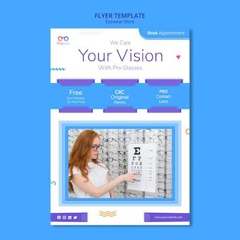 Modèle de flyer de magasin de lunettes