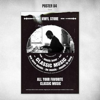 Modèle de flyer de magasin de vinyle