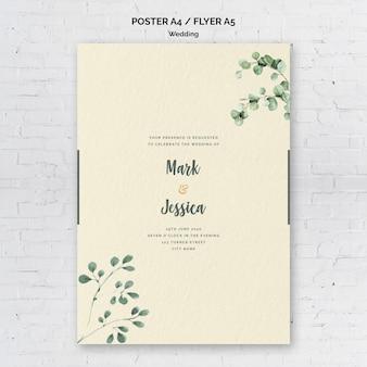 Modèle de flyer de mariage décoratif