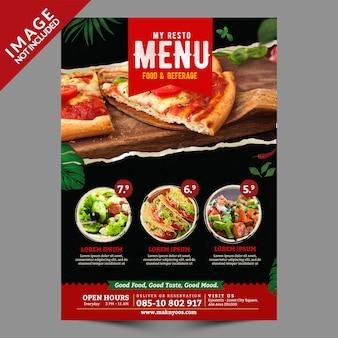 Modèle de flyer de menu alimentaire face avant