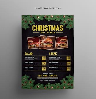 Modèle de flyer de menu de noël