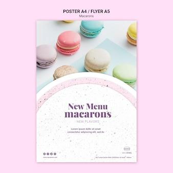 Modèle de flyer de menu nous aimons les macarons