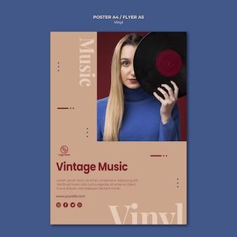 Modèle de flyer de musique vintage en vinyle