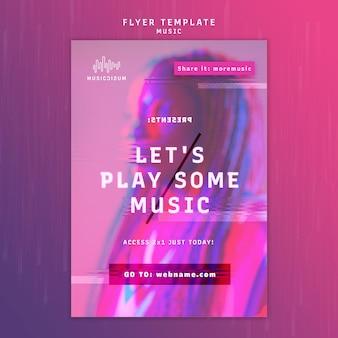 Modèle de flyer néon vertical pour la musique avec artiste
