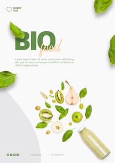 Modèle de flyer de nourriture bio avec photo