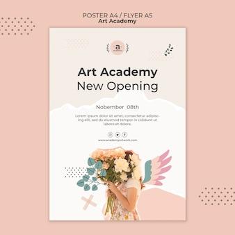 Modèle de flyer d'ouverture de l'académie des arts