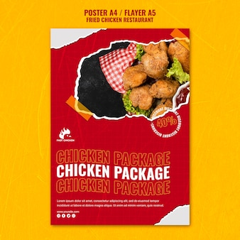 Modèle de flyer de paquet de poulet frit