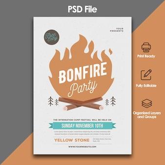 Modèle de flyer party bonfire