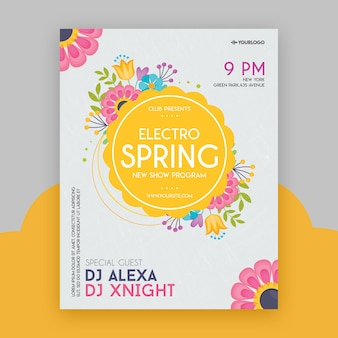 Modèle de flyer party electro spring